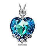 LADY COLOUR ♥Best Mom Gifts♥ Blue Heart MOM Pendant Necklace Made with Swarovski Crystals - Lucky Clover Design