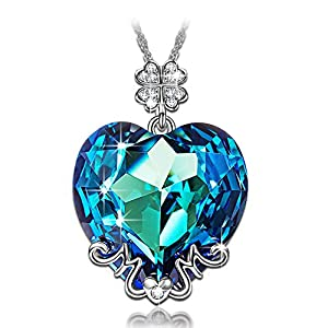 LADY COLOUR Christmas Necklace Gifts for Women Best Mom Gifts Blue Heart MOM Pendant Necklace Made with Swarovski Crystals, Lucky Clover Design Hypoallergenic Jewelry Gift Box Packing