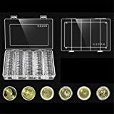 Coin Storage Container 100 PCS/Box Clear Round Coin Storage Box 30 mm Diameter Plastic Capsules Display Cases Organizer Collectable Coin Holder