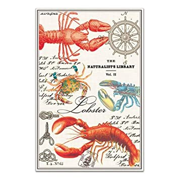 Attirant Michel Design Works Lobster Kitchen Towel, Natural Woven Cotton