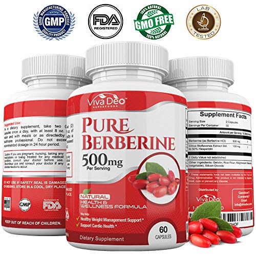 Pure Berberine 500mg Per Serving   Supplements Glucose Metabolism, Blood Sugar – HCL for Absorption - Supports Weight Management, Hormone Balance, Gastrointestinal, Cardiovascular – 60 Capsules