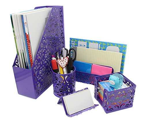 Easypag 5 in 1 desk organizer set file holderletter sorter pen easypag 5 in 1 desk organizer set file holderletter sorter pen holder business card holder and stick note holder purple office supplies general colourmoves