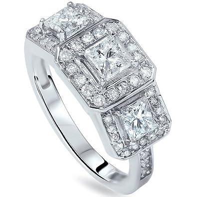 1 3/8ct Princess Cut Diamond 3-Stone Ring 14K White Gold