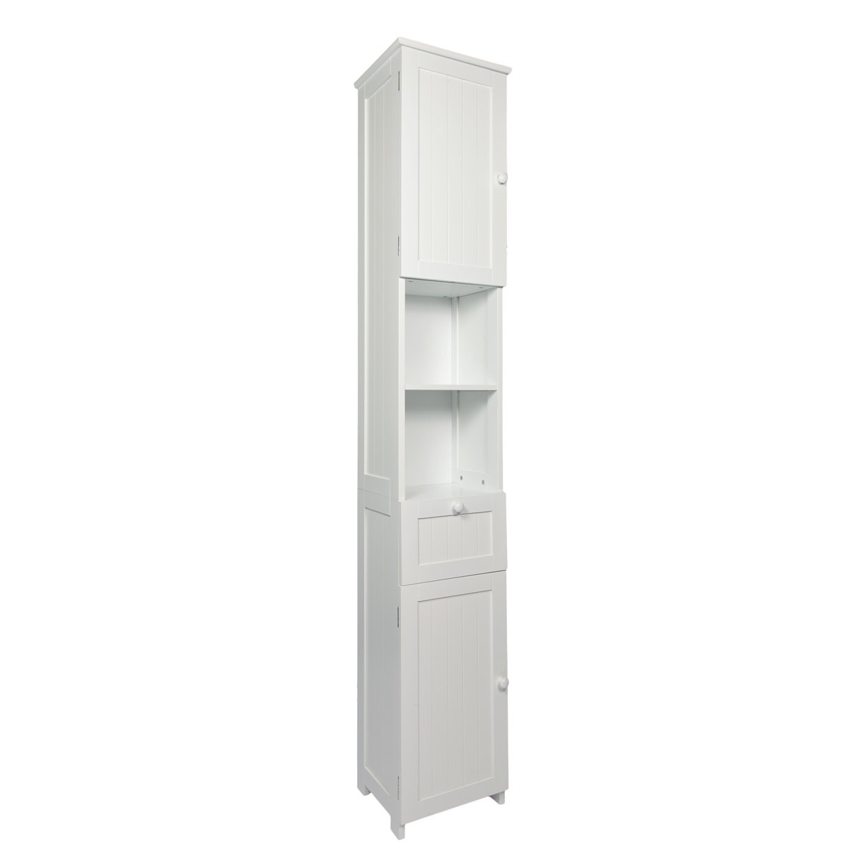 woodluv slim shaker tall boy free standing bathroom storage cabinet unit white