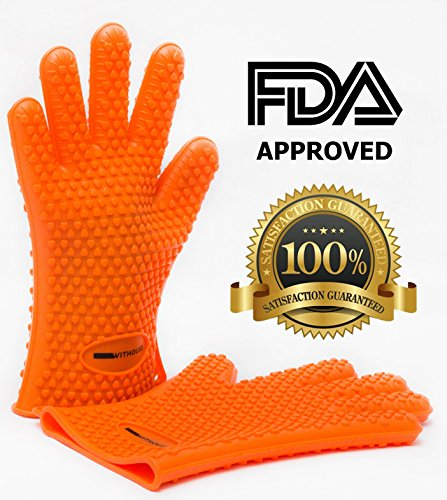 Cooking Gloves Heat Resistant BBQ - Turner Silicon gloves - Withouse(TM) -Best Oven Mitt - IRREPLACEABLE for Potholding, Grilling, Cooking, Camping and Much More! Expand Your Cooking Capabilities and Keep Hands Extra Safe! Try these NEXT GENERATION Cooking Gloves and Forget Other Alternatives! Silicone BBQ Gloves are HEAT RESISTANT Up To 425F (218C) - Easy To Clean and Dishwasher Safe - No Slip Five Finger Design For Easy and Strong Grip - FDA APPROVED - Life Time Money Back Guarantee