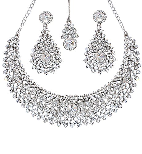 Touchstone Hollywood Glamour Scintillating White Round and Rivoli Shape Rhinestone Grand Bridal Designer Jewelry hasli Necklace Set for Women in Silver Tone