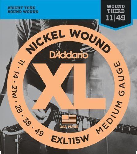 D'Addario EXL115Wx5  Electric Guitar Strings, 3rd String Wou