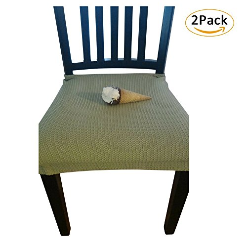 Waterproof Dining Chair Cover Protector - Pack of 2 - Perfect For Pets, Kids, Elderly, Wedding, Party - Machine Washable, Elastic, Removable, Premium Quality, Clean the Mess Easily (Light Green) (Outside Chair Cushions Sales)
