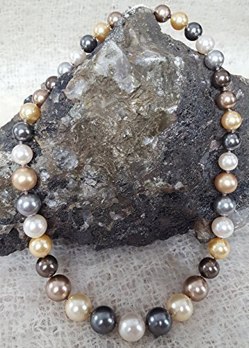 18 inch Multi colored Pearl Necklace Hand Knotted Graduated 8-14mm Simulated Swarovski Pearls by Nature Inspired Living Made in the USA - Chocolate Tahitian Pearl Necklace