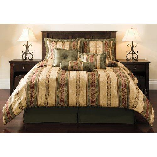 Dakota Jacquard Bedding Comforter Set Green/Gold King Size