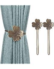 Lewondr Vintage Clover Magnetic Curtain Tieback, 1 Pair Resin Flower Curtain Drapery Holdback Retro Window Curtain Decorative Buckle Holder for Home Office Cafe Balcony