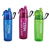 Three (3) Pack O2Cool Mist 'N Sip 20 oz. Classic Hydration Drinking Misting Facial Humidifier Sippy Bottle Mega Family Trio Blue Hot Pink Green Hot Flash BPA Free Squeeze Trigger Action Cup