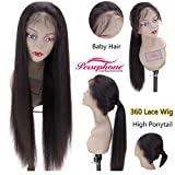 Persephone 200% Extra Heavy Density Long Straight 360 Lace Frontal Wig Human Hair with Natural Hairline Brazilian Remy Hair Lace Wigs for Women with Baby Hair and High Ponytail Natural Color 16 inches