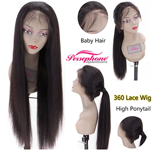 Persephone 200% Extra Heavy Density Long Straight 360 Lace Frontal Wig Human Hair with Natural Hairline Brazilian Remy Hair Lace Wigs for Women with Baby Hair and High Ponytail Natural Color 16 inches by Persephone