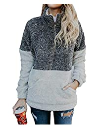 NANYUAYA Women Zipper Sherpa Sweatshirt Pullover Outwear Coat with Pockets