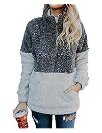NANYUAYA Women Zipper Sherpa Sweatshirt Pullover Outwear Coat with Pockets