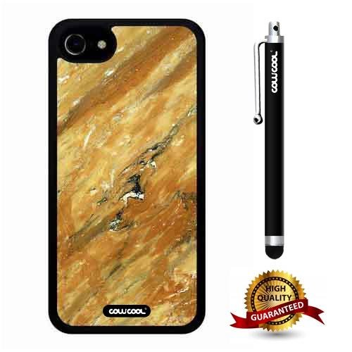 (iphone 7 Case, Marble Pattern Case, Cowcool Ultra Thin Soft Silicone Case for Apple iphone 7 - Gold Twill Marble Texture)