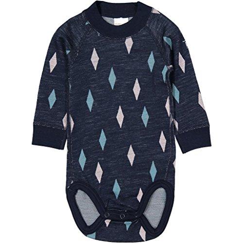 Polarn O. Pyret Harlequin Merino Wool Bodysuit (Newborn) - Dark Sapphire/2-6 Months -