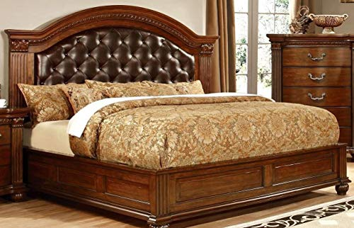 (GRANDON Traditional Formal Look Cherry Finish Leatherette Tufted HB Queen Size Bed w Matching Dresser Mirror Nightstand Luxurious Bedroom Furniture)