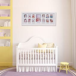 Feibi My First Year Baby Photo Frame, Baby Keepsake Frame, Wood Kids Picture Frame, 12 Photo Moments Frame (White)