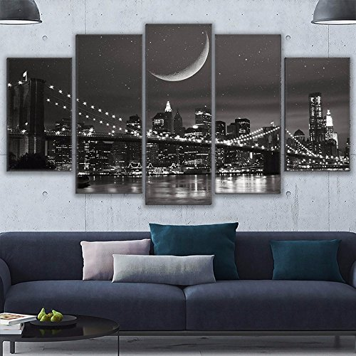New York Small Poster ([Small] Premium Quality Canvas Printed Wall Art Poster 5 Pieces / 5 Pannel Wall Decor City New York Painting, Home Decor Pictures - With Wooden Frame)