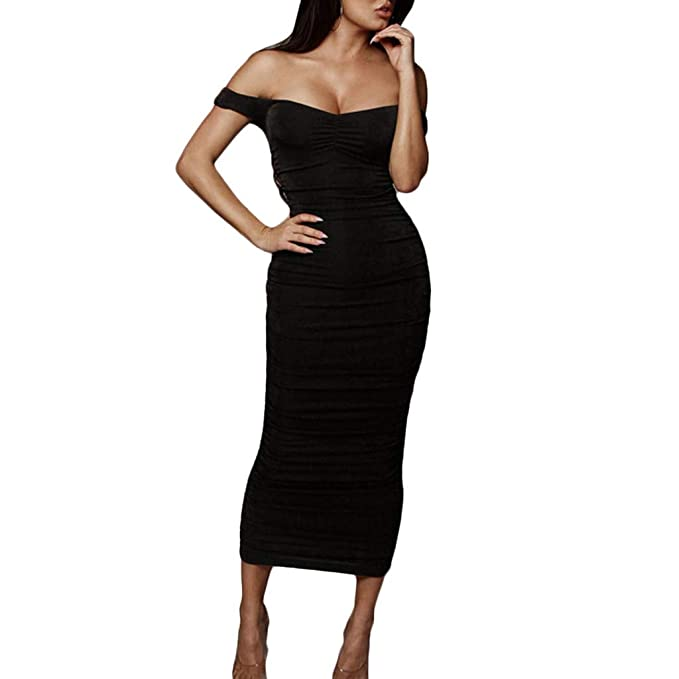 Long Dress for Women, nikunLONG Cold Shoulder Solid Tight