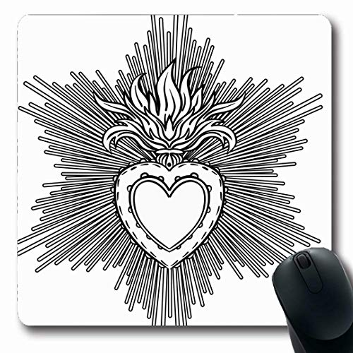 Ahawoso Mousepads Happy Catholic Sacred Heart Jesus Rays Love Tattoo Fire Flame Alchemy Gothic Design Burning Oblong Shape 7.9 x 9.5 Inches Non-Slip Gaming Mouse Pad Rubber Oblong Mat