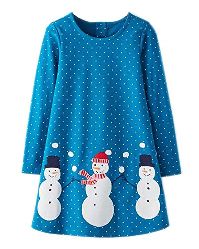Youlebao Girls Cotton Long Sleeve Casual Cartoon Appliques Striped Jersey Dresses (5T, Blue) ()
