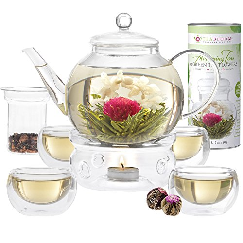 Price comparison product image Teabloom Blooming Tea Set - Stovetop Safe Glass Teapot with 12 Flowering Teas, Tea Warmer, 4 Double Wall Teacups & Removable Glass Infuser for Loose Leaf Tea - Complete Flowering Tea Gift Set