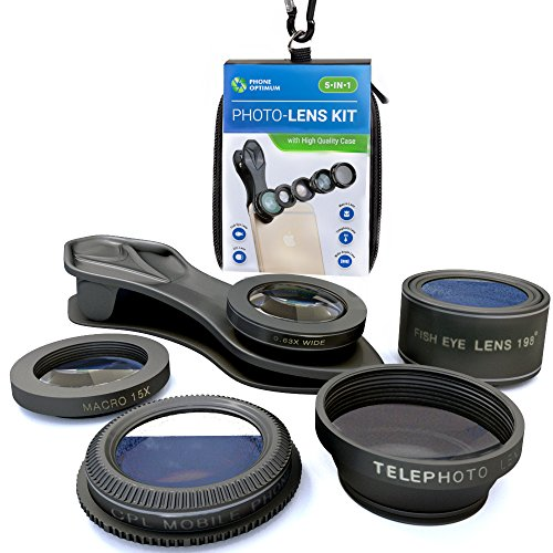 Macro Photo Lens Kit for iPhone and Android Smartphones | Set of 5: Fisheye, Wide Angle, Macro, Telephoto and CPL Lenses for HD Quality Photos | Free Case, Carabiner and - Instagram Glasses