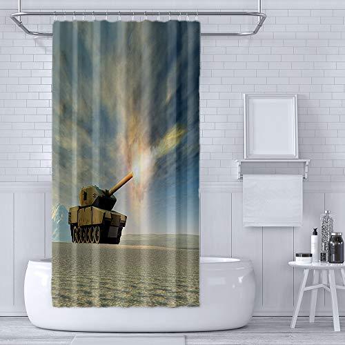 (RLDSESS Printing Thicken Waterproof Shower Curtain with Hooks,Printing - Battle Tank firing-66 Wx72 L)