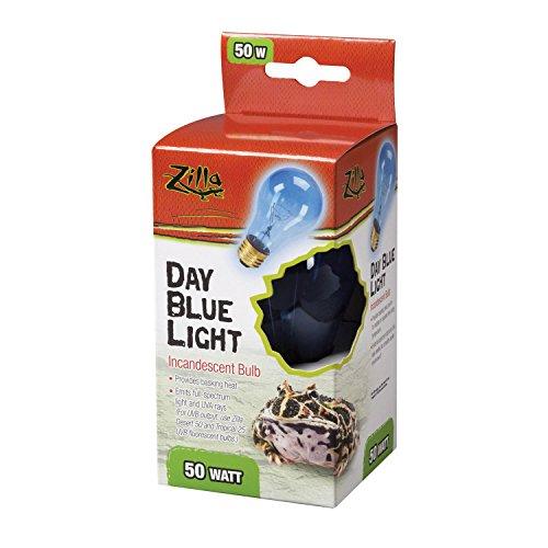 Zilla Reptile Terrarium Heat Lamps Incandescent Bulb, Day Blue, 50W