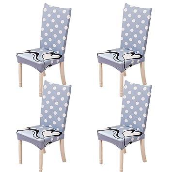 Feilaxleer Fundas para sillas Comedor elásticas Universal Pack de 4,Cubiertas para sillas Respaldo Alto para hogar, Hotel, Banquetes,impresión ...
