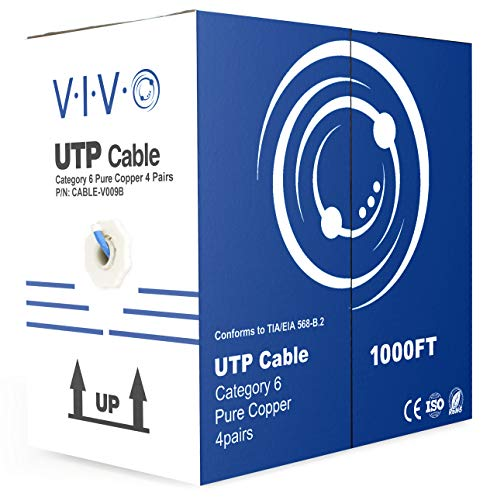 (VIVO Blue Full Copper 1,000 ft Bulk Cat6 Ethernet Cable 23 AWG/Wire UTP Pull Box 1,000ft Cat-6 (CABLE-V009B) )