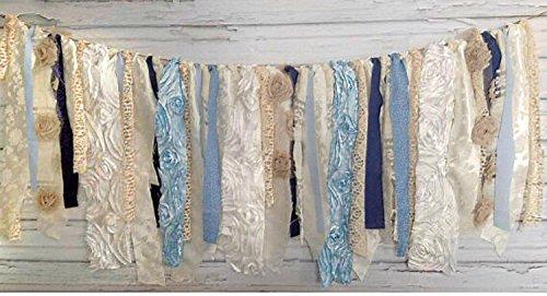 Shabby Chic Blue Rag Tie Garland: ~ Photo Shoot ~ Wedding ~ Birthday ~ Nursery ~ Bridal Shower ~ Highchair Banner ~ Gender Reveal Parties ~ Decorations ~ Wall Decor! (6 FEET Wide) ()