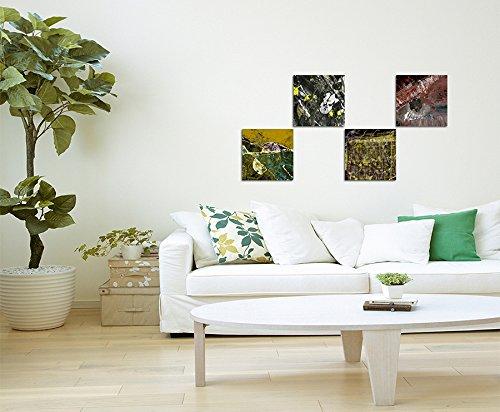 Abstrakt Wild Mehrfarbig Expressiv 4 St/ück 50x50cm Exklusive Bilder auf Leinwand bespannt