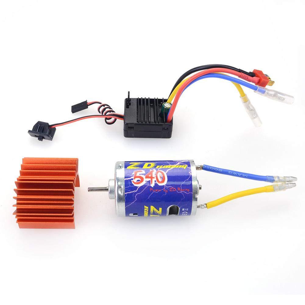 DaJun Brushed Power Set Waterproof Brushed ESC with 45A Brushed ESC + 540 Brushed Motor with Radiator for 1/10 RC Car