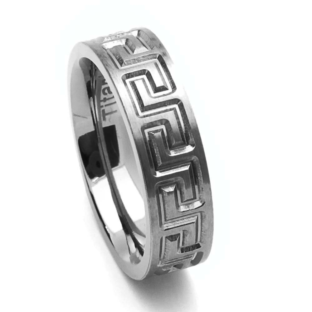 Double Accent 6MM Comfort Fit Titanium Wedding Band Greek Key Flat Ring Size 6 to 14