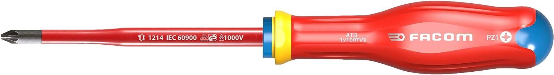 Facom ATD1X100TVE TOURNEVIS PROTWIST/® SLIM isol/és 1000 Volts pour vis cruciformes POZIDRIV/®