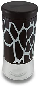 Brown and White Giraffe Print Pampered Pooch Glass Pet Treat Jar w/Lid