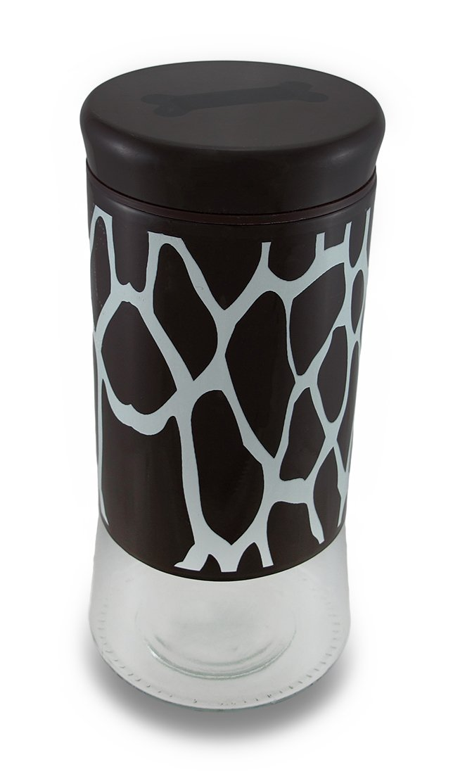 Glass Food Storage Bins And Canisters Brown And White Giraffe Print Pampered Pooch Glass Pet Treat Jar W/Lid 4.5 X 9.25 X 4.5 Inches Brown
