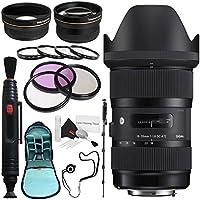 Sigma 18-35mm f/1.8 DC HSM Art Lens for Nikon # 210-306 + 72mm 3 Piece Filter Kit + Lens Pen Cleaner + 72mm Wide Angle Lens + 272mm 2x Telephoto Lens + SLR Camera Sling Bag + 70in Monopod Bundle
