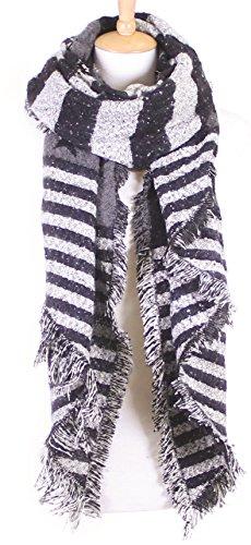 S-779-06 Stars Stripes Warm Winter Wool Womens 4th of July Blanket Scarf - Black