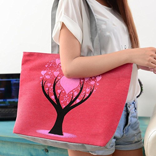 Shoulder Transer Casual Blue Girls Women's Bag Canvas Bags Handbag Red qRtTRB