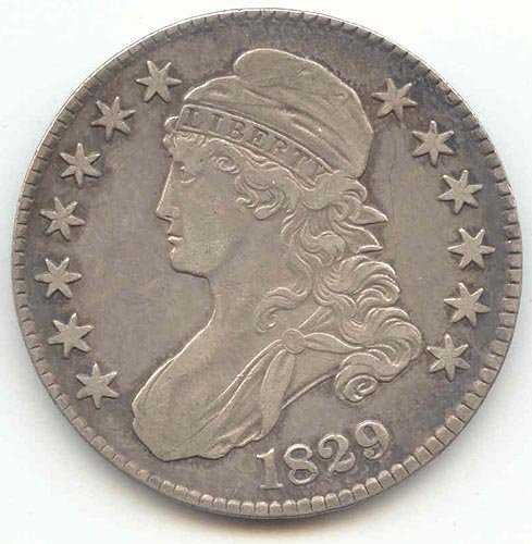 1829 Capped Bust Half Dollar Choice Extra Fine Details
