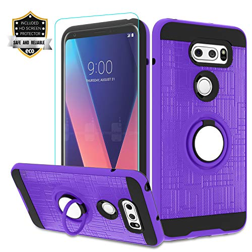 LG V35 ThinQ Phone Case,LG V30/ LG V30 Plus/LG V30S ThinQ Case with HD Screen Protector,Atump 360 Degree Rotating Ring Holder Kickstand Bracket Cover Phone Case for LG V30+ Purple