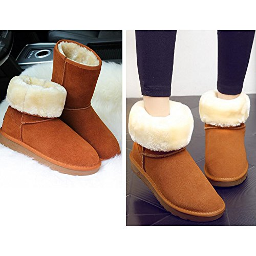 Calf Orange 44 Outdoor Snow Sequins Size Boots 35 Keep Eastlion Fleece Winter Mid Boots Lined Warm Short Unisex Shoes Wearable FnqnR7xwHT