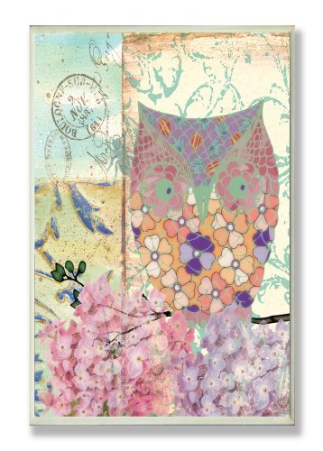 The Stupell Home Decor Collection Multi Color Owl with Pink and Purple Hydrangeas Wall Plaque