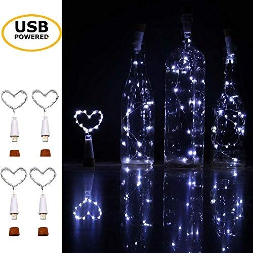 iMazer Wine Bottle Cork Lights, USB Powered Rechargeable Copper Wire String Starry 32inch 15 LED Light DIY,Party,Home Decor,Christmas,Wedding Mood Lights Warm White (USB Powered Cold White)