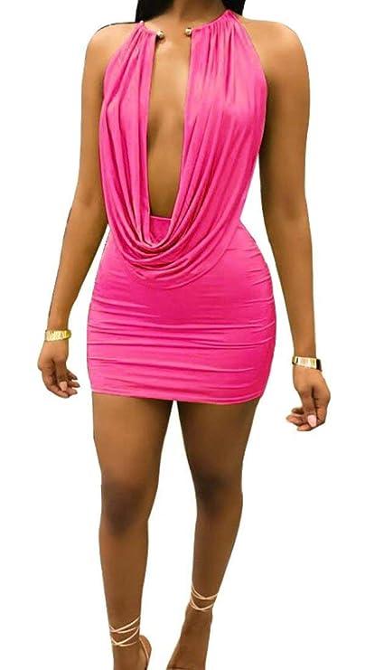 Amazon.com: Halter Deep V-Neck Backless Tops Mini Skirt ...